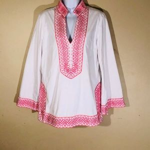 TS DIXIN White & Pink Structured Tunic - Sz XL